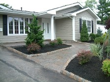 paver walkway, paver porch, curbstone, landscaping